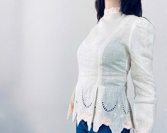 1980s Edwardian inspired lace blouse - Size M