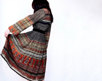 1970s Indian cotton block print dress - Size S M