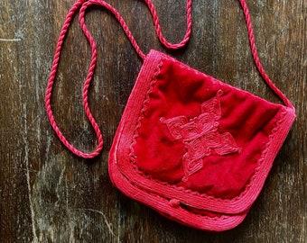 1970s red velvet Moroccan shoulder bag.