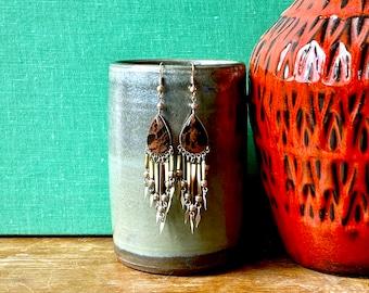 1970s Nepalese mahogany obsidian dangle earrings