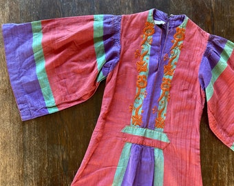 1970s GONZALO BAUER embroidered cotton kaftan dress - Size XS