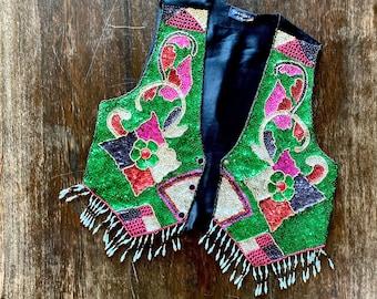 1980s Burlesque sequined beaded tassel vest - Size M L