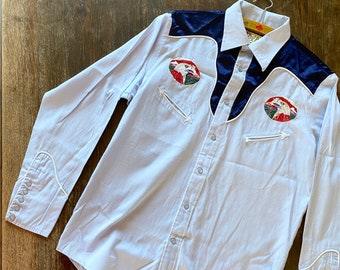 1980s blue eagle western shirt - Size S - M
