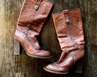 1970s brown tall tooled leather boots  - size 37 Euro / 7 US