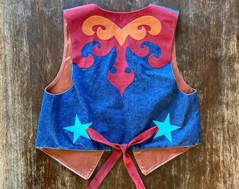1970s Western denim appliqué vest - Size M