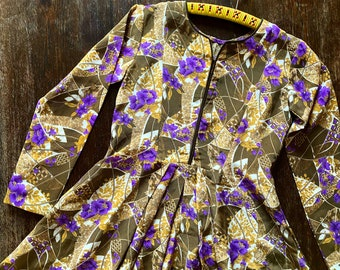 1960s Japanese floral dress - Size XS