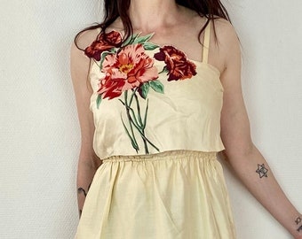 1960s floral silk dress - Size XS S