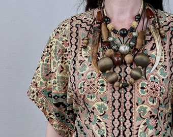 1970s set of brass, wood and bone necklaces