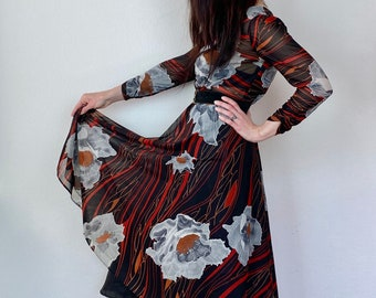1970s sheer floral dress - Size S M