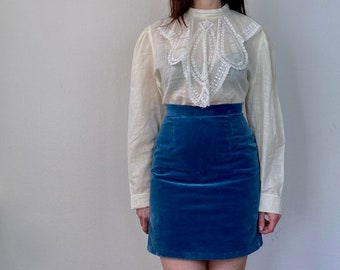 1970s Edwardian inspired lace collar blouse - Size M