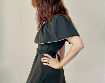 1970s Black maxi cape dress with gold piping - Size S M