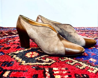1960s brown suede and leather pumps - size 38