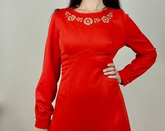 1970s red gold glitter maxi dress - Size M-L