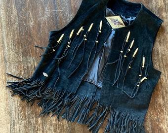 1990s black suede fringed western vest - Size M L