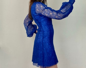1970s Blue lace mini dress - Size XS-S
