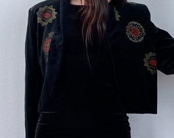 1980s Black velvet cropped jacket  - Size M L