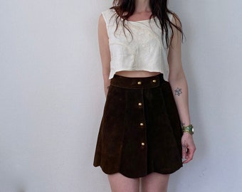 1970s suede button up mini skirt  - Size XS S