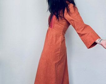RESERVED! 1970s Rare Danish design maxi kaftan dress - Size XS S