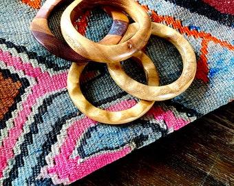 1970s  set of four wood bangles.