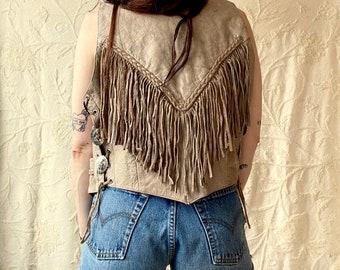 1980s Tan fringed leather vest - Size M / L