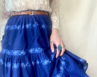 1970s blue floral ribbon prairie skirt - Size XS