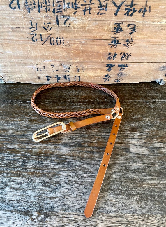 1970s braided brown leather belt - Size L