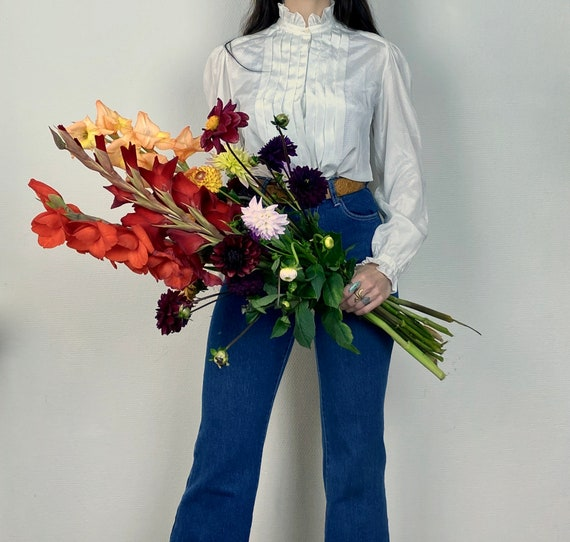1970s white ruffle collar blouse - Size XS S