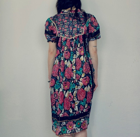 1970s Indian cotton gauze dress - Size S