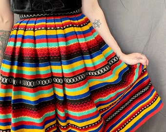 1950s Multi color Mexican wool skirt - Size XS