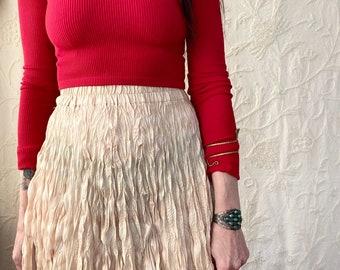 1990s Ivory crinkled popcorn skirt- Size S