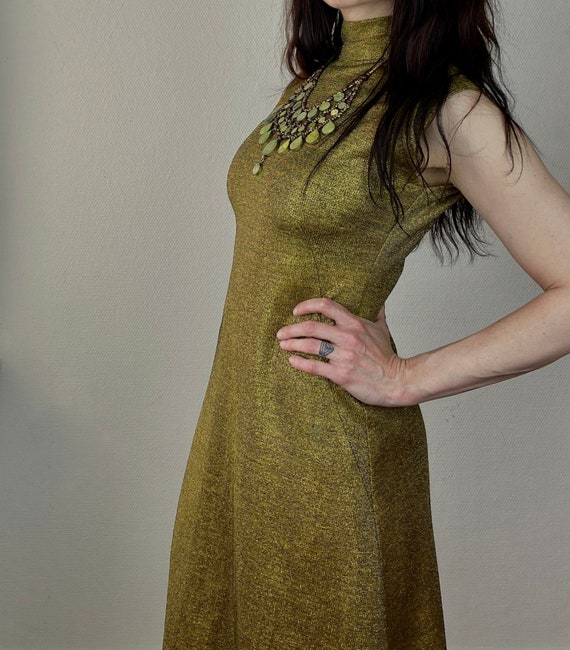 1970s Studio 54 gold maxi dress - Size S