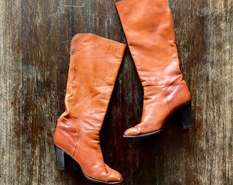 1970s tall brown high heeled boots  - size 38 Euro / 7,5 US