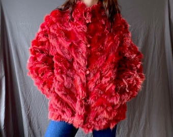 1970s red hot fur and suede jacket  - Size S/M