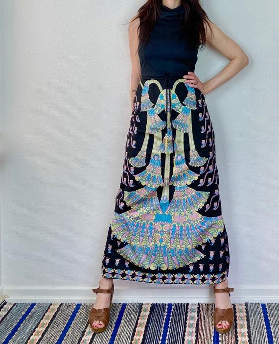 1970s Art deco print maxi dress - Size S M