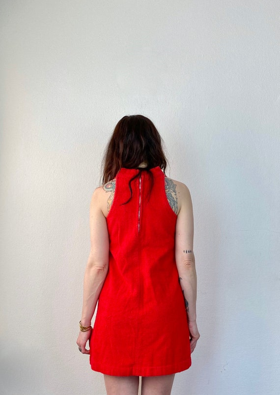 1970s red terry cloth mini dress- Size XS