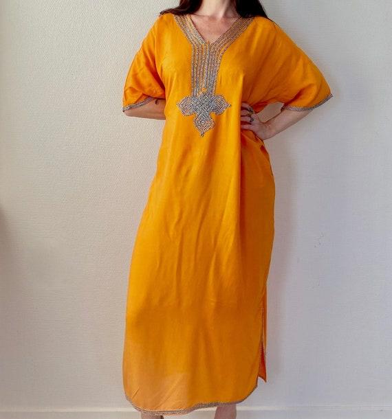 1970s embroidered orange Moroccan kaftan dress - F