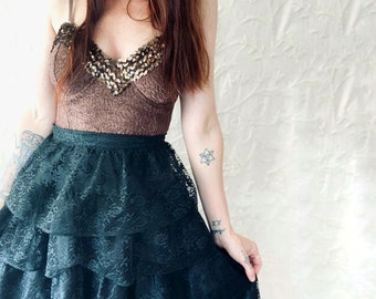 1980s black lace layered skirt- Size S/M