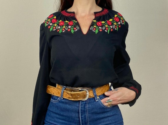 1970s black Hungarian embroidered peasant blouse -