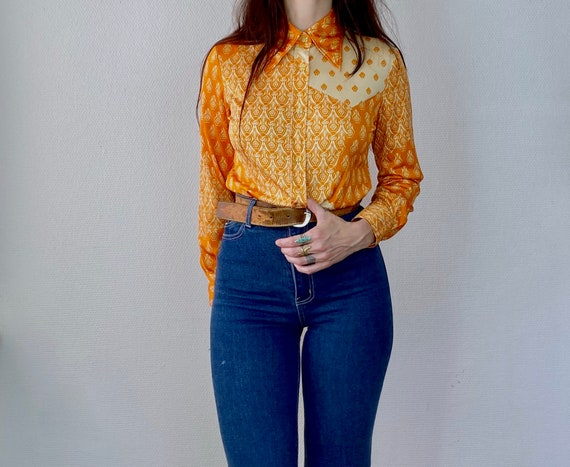 1970s orange psychedelic print polyester shirt - S