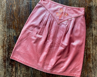 1980s Mauve brown leather skirt  - Size S