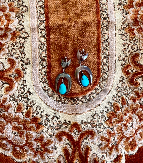 1970s Handmade turquoise crescent moon earrings.