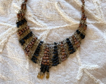 1970s wood bead and brass bib necklace