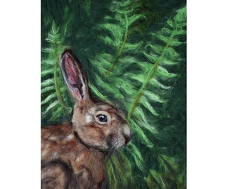 UNDER THE FERNS Needle Felted Wool FIne Art Painting of Rabbit Under the Ferns 16x20 Unframed