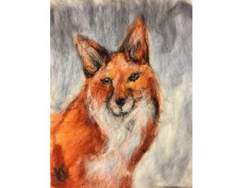 FOX in the SNOW Needle Felted Wool Fiber Art Painting Wall Hanging Wildlife Fine Art 11x14