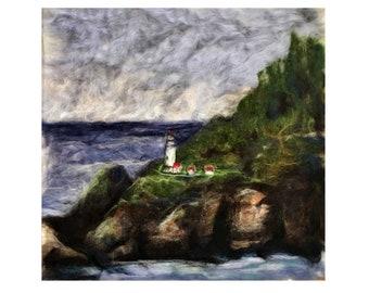 HECETA HEAD Lighthouse in Florence Oregon Coastal Seascape~Needle Felted Wool Fiber Art Painting Wall Hanging Fine Art 18x18 Unframed