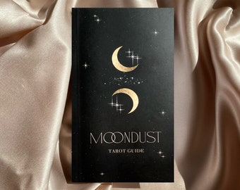 Moondust Tarot Guidebook | 168 Pages | Tarot Deck Black and Gold Pocket Guide | Sun Moon Stars Oracle Magical Celestial Divination Tools