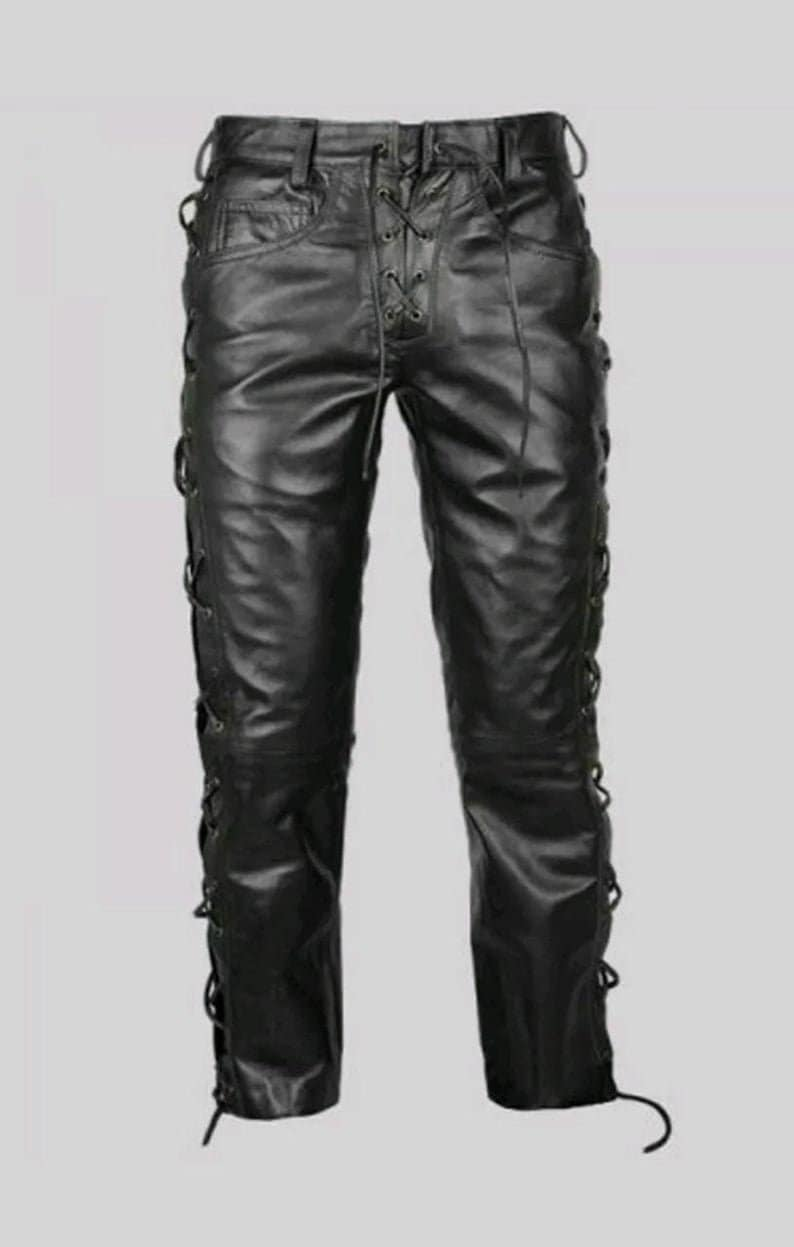 Men/'s Genuine High Quality Leather Pants Bluff Gay New Design /& Leather Laces Motorbike Style Pants Trousers