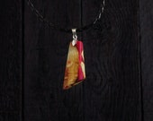 Wod And Resin Pendant with faux leather necklace