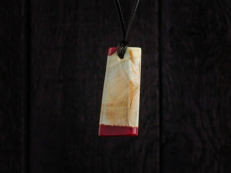 Resin and Wood Pendant on Faux Leather Necklace and silver image 0