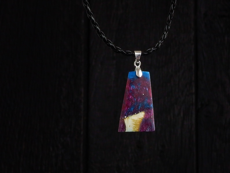 Galaxy Resin and Wood Pendant on Faux Leather Necklace and image 0